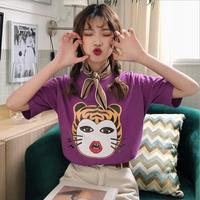 Koreaanse stijl print vrouwen t-shirts 2018 zomer nieuwe casual korte mouw o-hals tees tops leuke meisje kleding gx502 gratis verzending