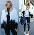 2016 New Contrast Color Women Loose White and Black Two Tone Shaggy Faux Fur Collarless Short Coat Jacket Plus Size M L XL