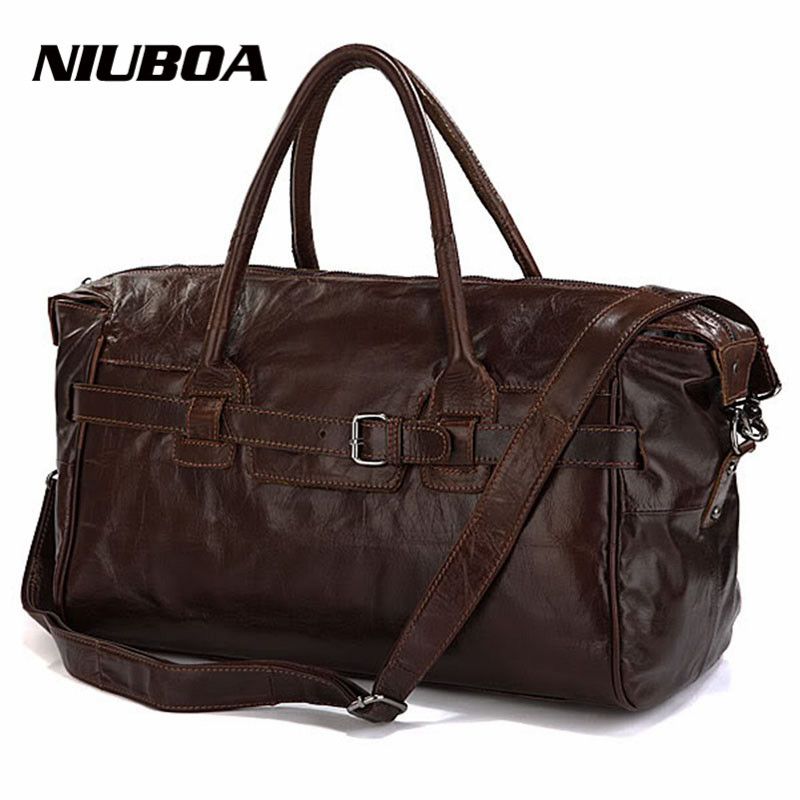 где купить NIUBOA Vintage Genuine Leather Travel Bag Men Soft Real Leather Duffel Bags Luggage Travel Men Big Business Duffle Weekend Tote дешево