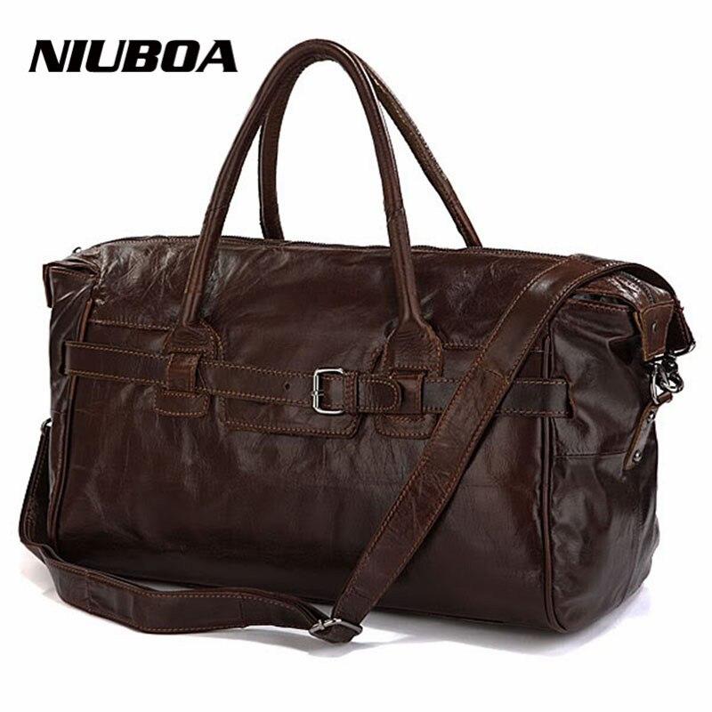 Vintage Genuine Leather Travel Bag Men Soft Real Leather Duffel Bag Luggage Travel Bag Men Big Business Duffle Bags Weekend Tote