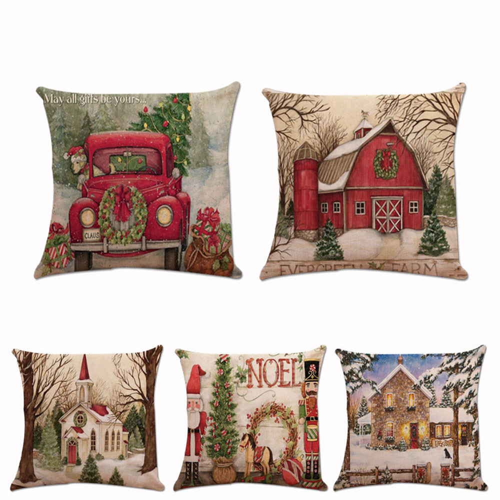 Christmas Xmas Linen Cushion Cover Throw Pillow Case Home: Christmas Pillow Case Xmas Santa Claus Cushion Cover