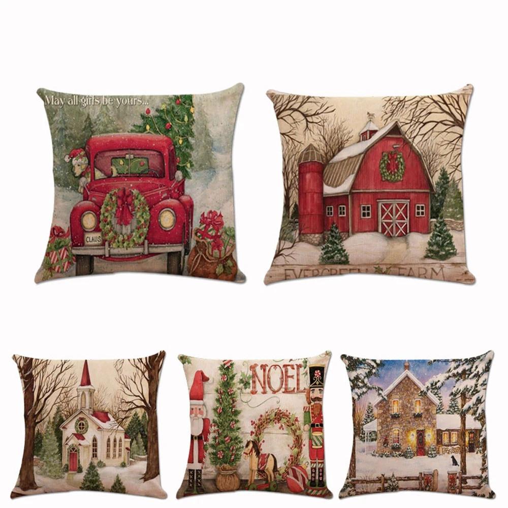 Cotton Linen Christmas Car Santa Claus Home Decorative Pillow Case Cushion Cover