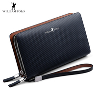WILLIAMPOLO Fashion New Arrival 100% Cow Leather Business Solid Zipper Long Mens Clutch Wallet Handbag Wallet