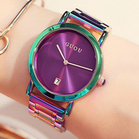 GUOU Damen Big Wind Gold Steel Band Fashion Waterproof Electronic Women S Watches Lady Simple Quartz