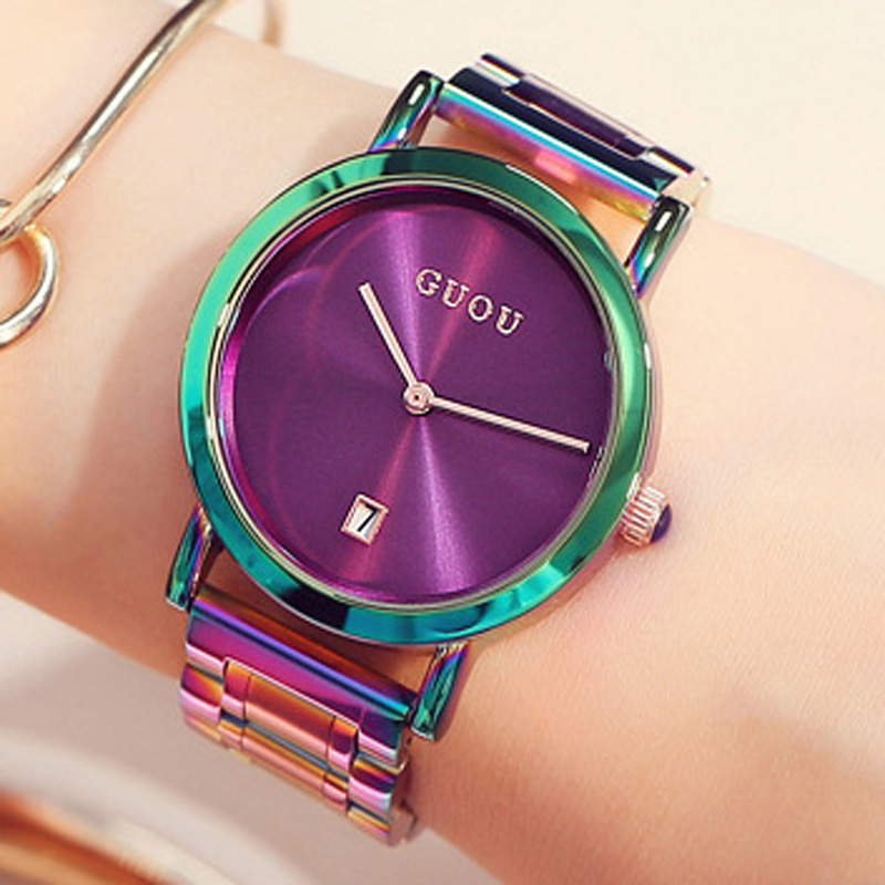 GUOU Damen gran viento Gold Steel Band Moda impermeable electrónica - Relojes para mujeres