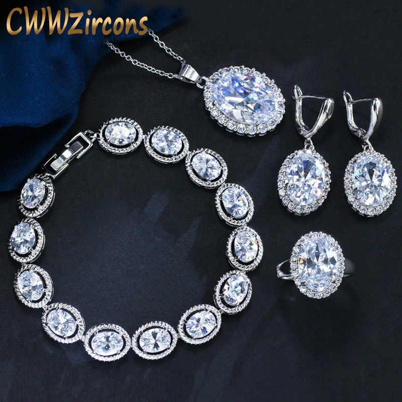 CWWZircons คุณภาพสูง Shiny CZ Zirconia หินแฟชั่นจี้ต่างหูแหวนสร้อยข้อมือชุดเครื่องประดับแอฟริกันสำหรับผู้หญิง T036