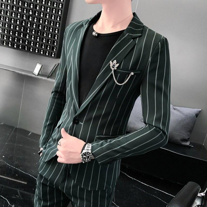 Fashion men clothing Suit two piece suit male Slim Korean version 2019 new retro double breasted men's striped suit tide