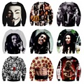 High quality baseball clothes boy pullover 3D characters pattern three-dimensional printing sweater Hip-Hop clothing 12-18 years