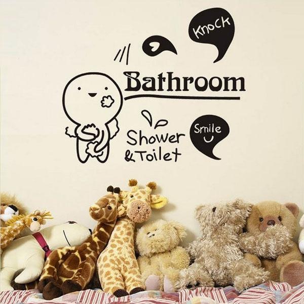 Toilet Shower Smile Knock Bathroom Wall Stickers Art Waterproof