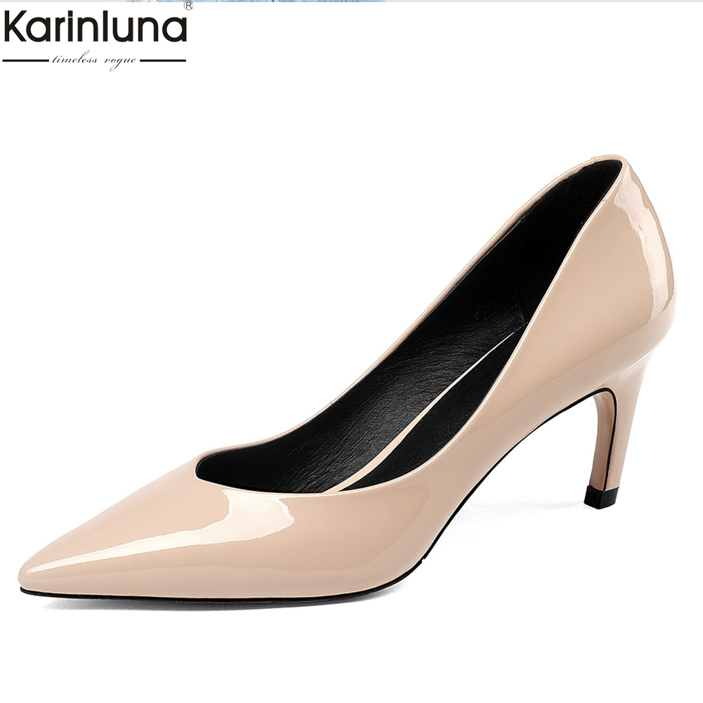 KarinLuna Genuine Leather Pointed Toe Party Pumps Woman Shoes Elegant Patent Leather Lady Shoes Woman PumpsKarinLuna Genuine Leather Pointed Toe Party Pumps Woman Shoes Elegant Patent Leather Lady Shoes Woman Pumps