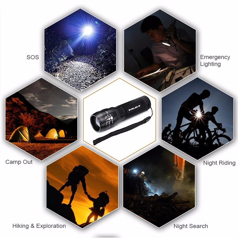 Купить с кэшбэком Mini LED Torch Flashlight Adjustable Focus Zoom Lantern Lamp Front Pocket Penlight Hunting Camping Hiking AAA Battery Lights