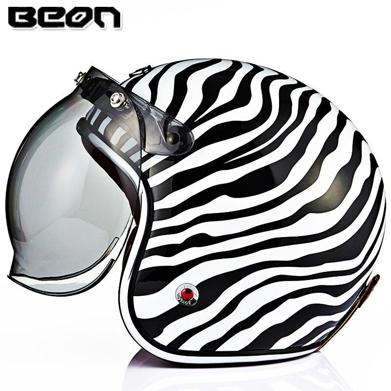 BEON B-108 casque moto avec pare-bulle visière Vintage Scooter casque visage ouvert rétro GFRP matériel moto cascos