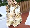 Oro Sexy Dama de Noche Primavera Calzado Real Rhinestone Bombas de la Plataforma de Verano Zapatos de Tacón Alto Sandalias