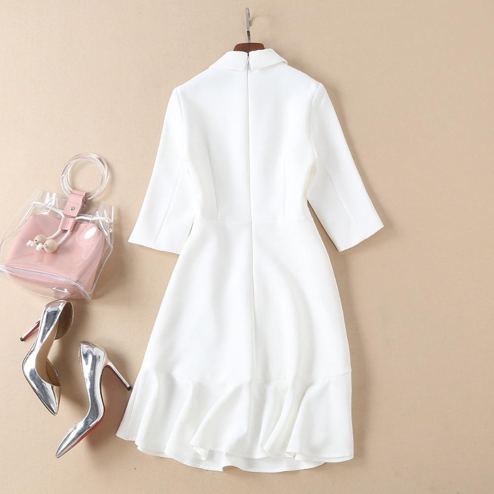 937164687c3df9 Papillon quarts Diamant Manches Baissez Robe Noir Haute Automne Qualité  Femmes Printemps Trois Et Blanc Mode ...