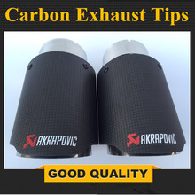 1 PC Multi Size Matte Akrapovic exhaust car carbon Exhaust Tip car-styling exhaust pipe muffler tip carbon fiber exhaust tip цена