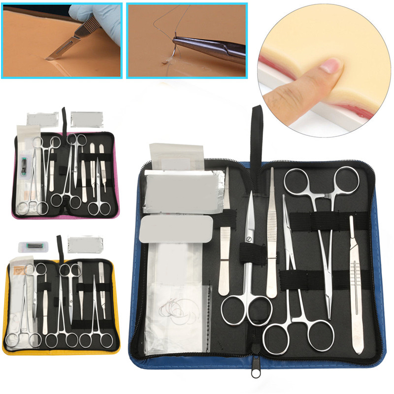 Image 2 - 11/13/19Pcs Medical Student Surgical Debridement Practice Suture Kit Skin Model Suture Course Needle Scissors Tweezers Tool Set-in Toiletry Kits from Beauty & Health