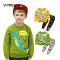 V-TREE весенние мальчики одежда наборы мода динозавров печати костюм наборы для мальчика дети спортивная одежда костюм мальчики футболка 2-7Y