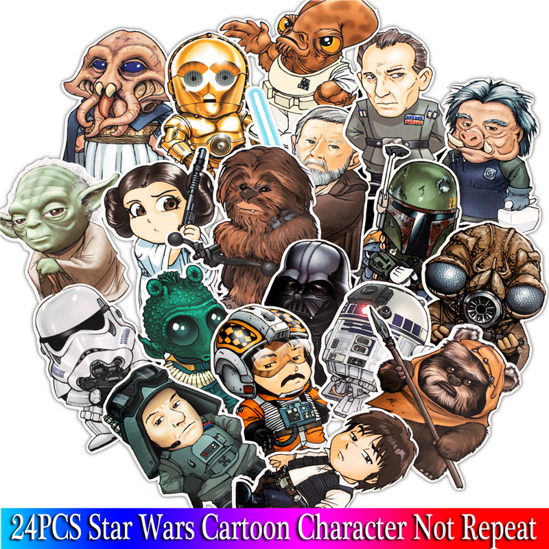 24PCS Star Wars Stickers Cartoon Character pattern Sticker For Skateboard Guitar Luggage Motorcycle Car Phone Laptop Sticker24PCS Star Wars Stickers Cartoon Character pattern Sticker For Skateboard Guitar Luggage Motorcycle Car Phone Laptop Sticker