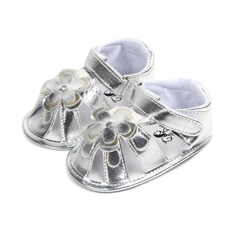 Summer Baby Girls Cute Shoes Soft Sole Anti-slip Flower Pattern Crib Shoes First Walkers Walking Shoes