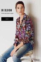 EQ 100 Silk Colorful Daisy Print Women Long Sleeve Shirt Lady Equipment Silk Blouses Spring