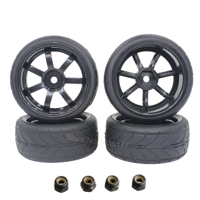 4pcs 26mm Rubber RC Vehicle Tires & Wheels Hex 12mm Foam Insert 1/10 On Road Flat Run Car Parts HPI Tamiya HSP
