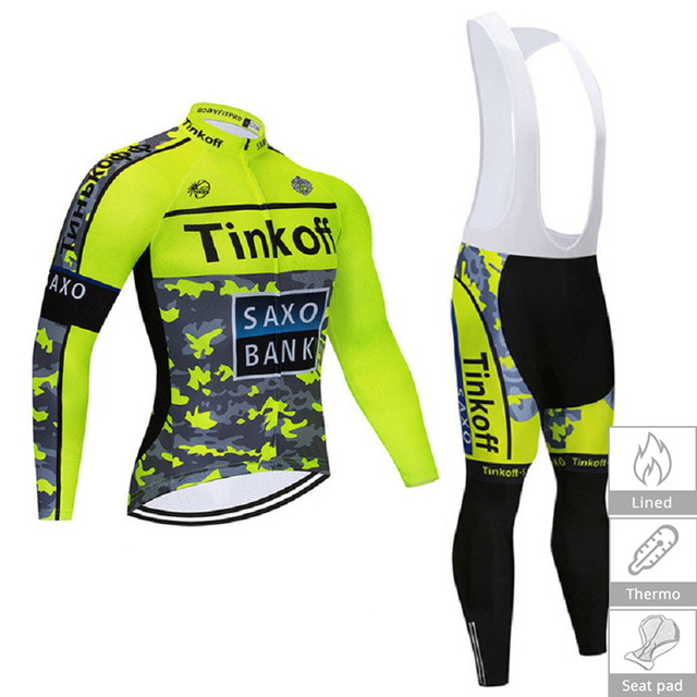 Tnikoff Saxo Bank 2019 Pro Team Men s Winter Thermal Fleece Cycling Jersey  Kit Ropa Ciclismo Invierno Bicycle MTB Bike Clothing 4332f113f