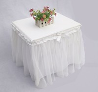 2016 Bedside Table Decoration Cover Romantic Sweet Tablecloth Cotton Lace Yarn Princess Table Skirt Wedding Decor