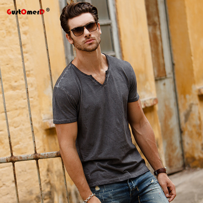 GustOmerD 2017 Fashion New Summer T-shirts Solid Color V-Neck Tops T-shirts Slim Fit Men Casual Brand Tøj Herre Grey T-shirts