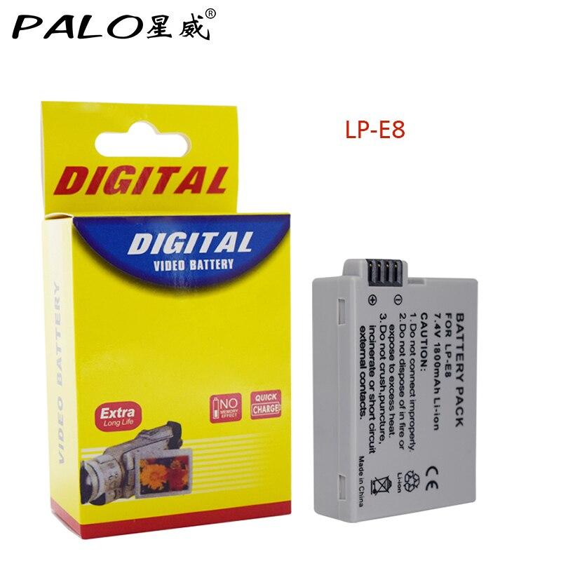 Palo 1pce LP-E8 Battery pack bateria LP-E8 lp e8 For Canon 550D 600D 650D 700D X4 X5 X6i X7i T2i T3i T4i T5i DSLR Camera