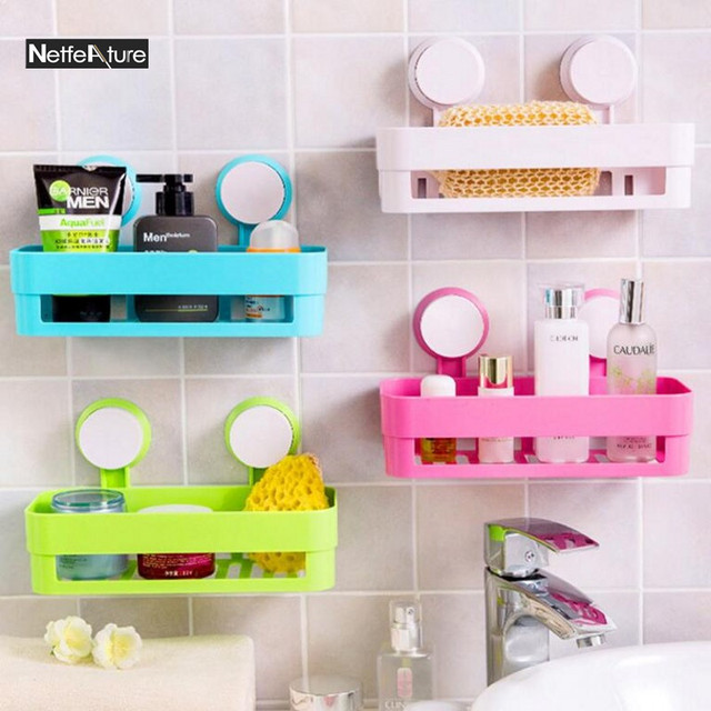 Household Storage Basket Containers Storage Mechanism Strong Sucker  Creative Bathroom Shelf Wall Mounted Large