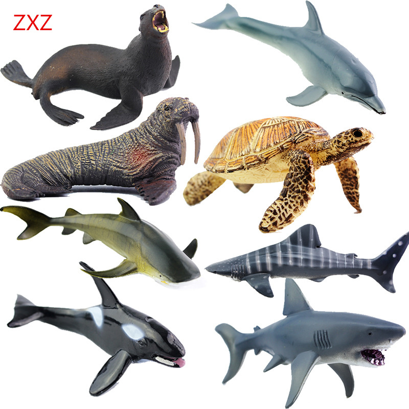 amazing toys ZXZ 8 type Amazing Marine organism animals Model Toy Classic Plastic Whale shark Dolphin Sea Lions Toys For Boys Collection Gift