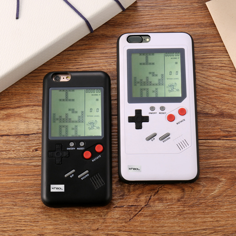 Khisol For Iphone X 7 8 6 6S Plus Game Console Phone Cover Case Multi Game Phone Case Tetris Game TPU Back Cover For Iphone X