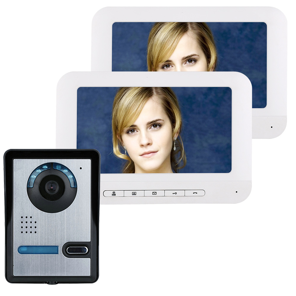 7 Inch TFT 2 Monitors Video Door Phone Doorbell Intercom Kit 1-camera 2-monitor Night Vision With IR-CUT HD 700TVL Camera