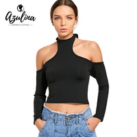 AZULINA 2017 New Women Sexy Long Sleeves Crop Top Fashion Ladies Solid Black Slim Fit Bustier