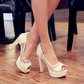 Sapatos novos 2016 Moda Verão Mulheres Sexy sapatos de Salto Alto Aberto Bombas da Plataforma do dedo do pé Casuais Deslizar sobre As Mulheres Sapatos Azuis para noiva
