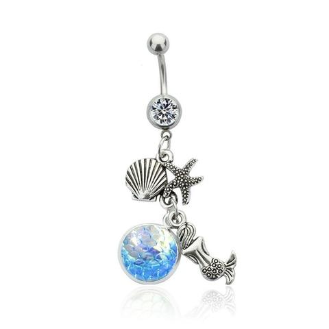 Кольцо для пупка с синей русалкой из нержавеющей стали 316l