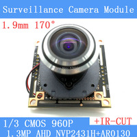 HD 1.3MP HD mini night vision wide angle cat surveillance cameras 1/3 CMOS 1.9mm manual focus Lens CCTV 960P Camera Module