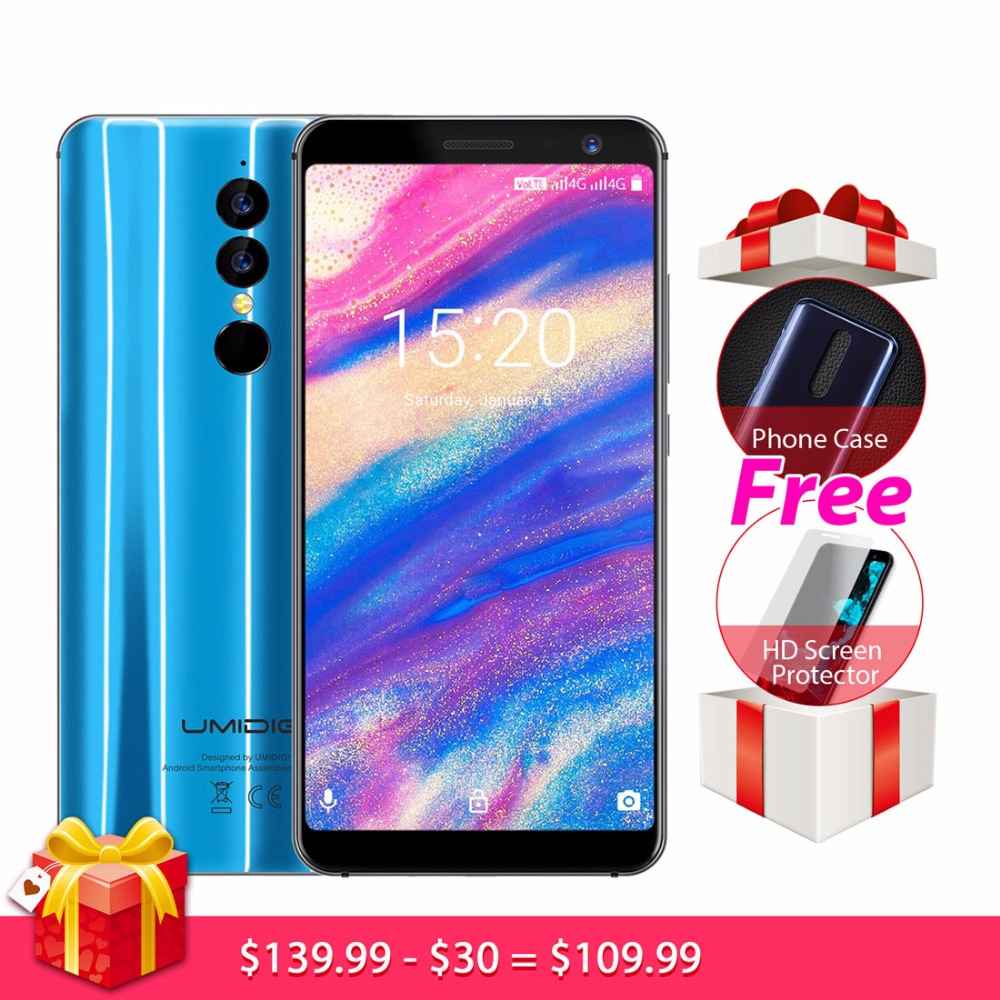 Original UMIDIGI A1 Pro Smartphone Android 8.1 3GB+16GB MTK6739 Quad Core 1.5GHz 5.5 inch HD+ Screen Dual Rear Camera Cell Phone