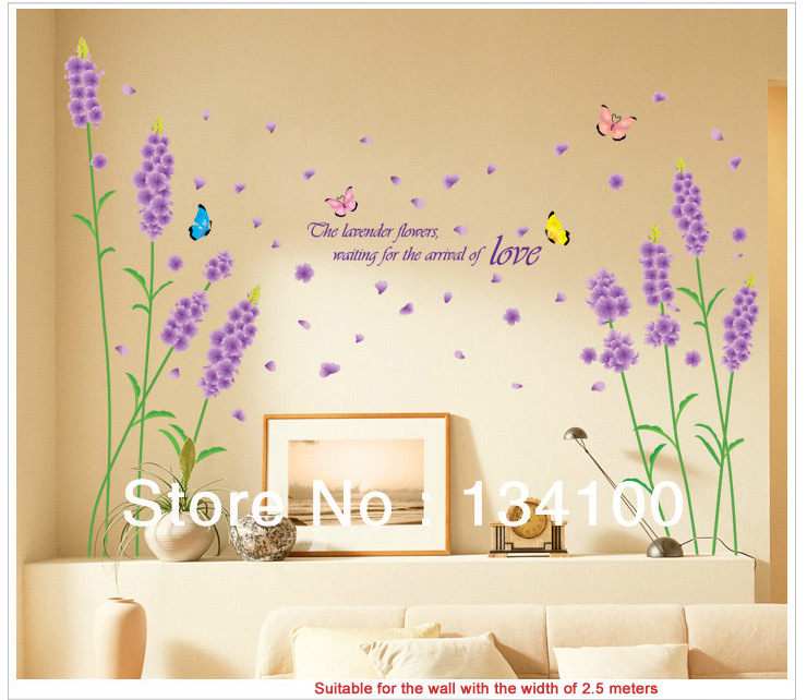 flower of Lavender waterproof and removable wall stickers/vinyls ...