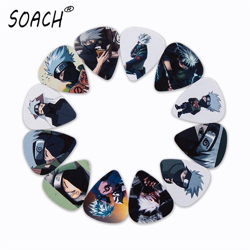 SOACH 10 Adet 3 çeşit Kalınlığında Yeni Gitar Seçtikleri Bas Japon Animesi Hatake Kakashi Resimleri Kaliteli Baskı Gitar Aksesuarları