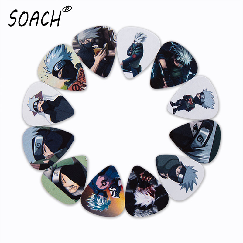 SOACH 10pcs 3 Kinds Of Thickness New Guitar Picks Bass Japanese Anime Hatake Kakashi Pictures Quality Print Guitar Accessories