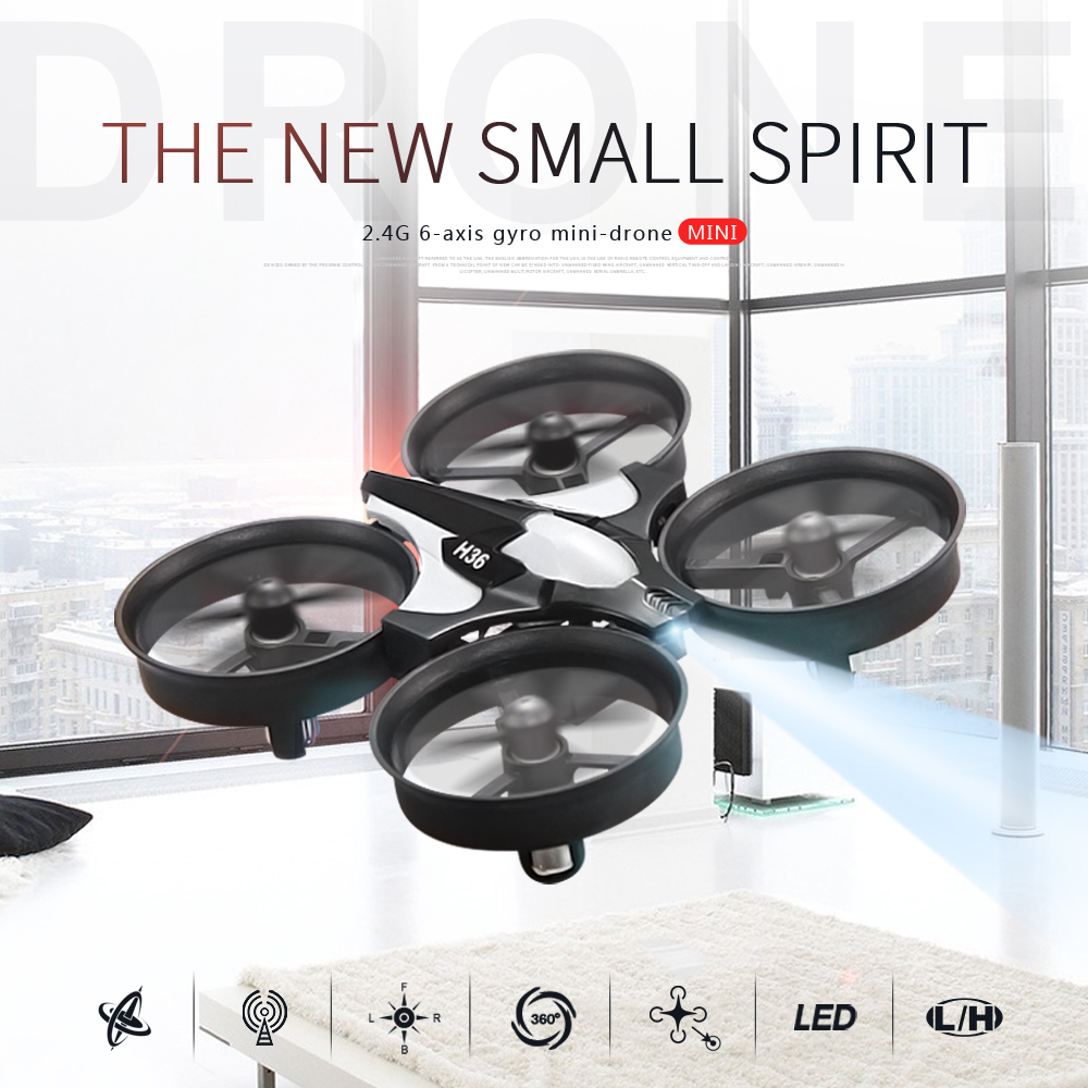 JJRC H36 Super Mini RC Drone Dron 2.4GHz 4CH 6 ejes Gyro Quadcopter Con luz LED Interruptor de velocidad Fly RC Helicopter VS JJRC H8 H20