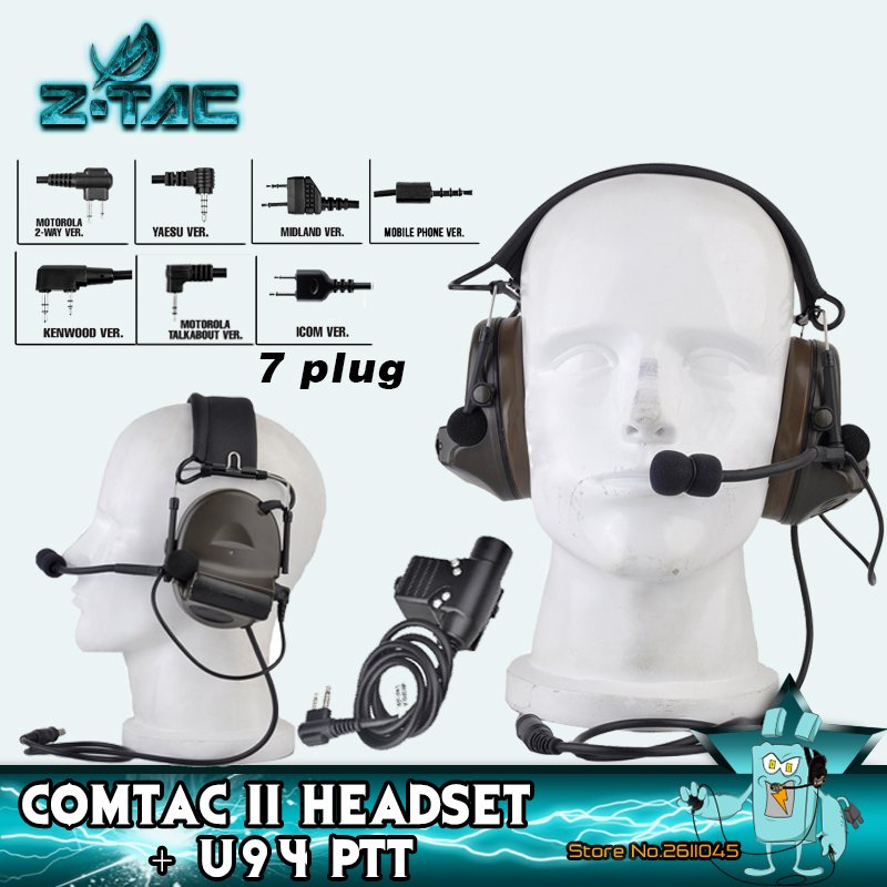 Z TAC Tactical Shooting Headphonet Peltor Comtac II Noise Canceling Hunting Headphones U94 PTT Softair Tactical