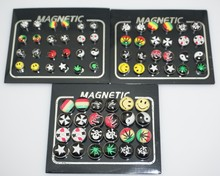 12 Pairs/lot 6/8/10mm Punk Mens Strong Magnet Earring Stud Stainless Steel Magnetic No Hole Piercing Earrings Jewelry for Women