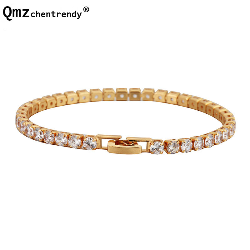 Women's Hip Hop Bling Iced Out 1 Row Tennis CZ Chain Bangle AAA Cubic Zirconia Tennis Bracelet Pulseras 18cm4mm