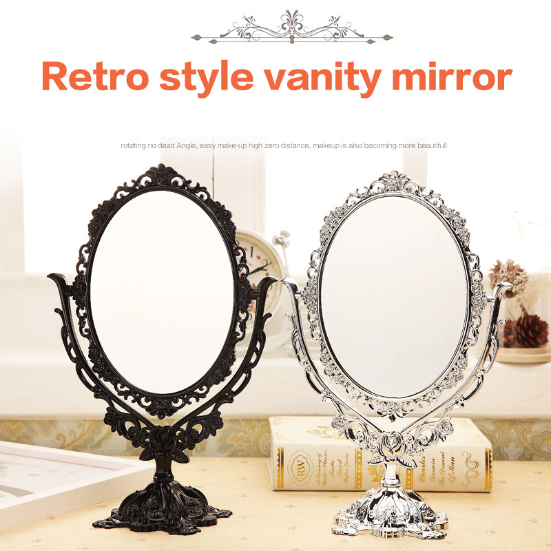 Oval Vintage Makeup Mirror Desktop Plastic Retro Mirror with Flower Rose Decoration For Makeup Tool Cosmetic maquiage miroir