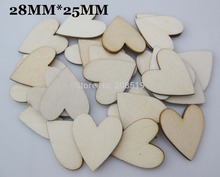 WBNLLO 100pcs Flat Back Wooden Scrapbook Heart Buttons 28x25mm Natural wood Button