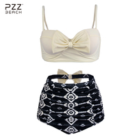 White Bikini Set High Waist Swimsuit Plus Size Swimwear Monokini Bow Print Bathing Suit Maillot De