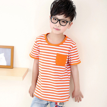 2016 Summer New Children's Clothing Boys Cotton Short-sleeved T-shirt Children Casual Round neck Striped Fashion T-shirt
