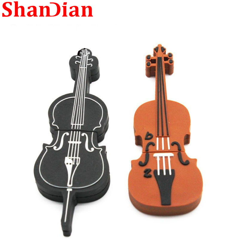 Shandian New Wholesale Violin Usb Flash Drive Music Pen Drive Usb 2.0 32gb/16gb//4gb Cartoon Memory Stick Usb Creativo Musical To Be Highly Praised And Appreciated By The Consuming Public External Storage